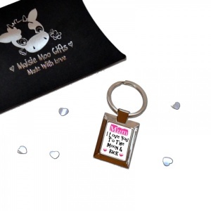 Pink Hearts Mum I Love You To The Moon & Back Metal Keyring In Gift Box
