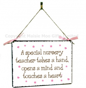 Special Nursery Teacher Hanging Vintage Style Design Plaque