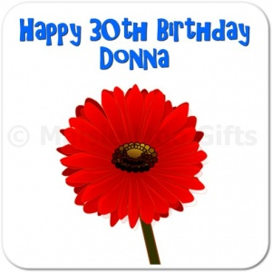 Gerbera Personalised Happy Birthday Coaster