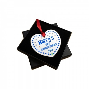 Personalised Baby's 1st Christmas Tree Decoration - Blue