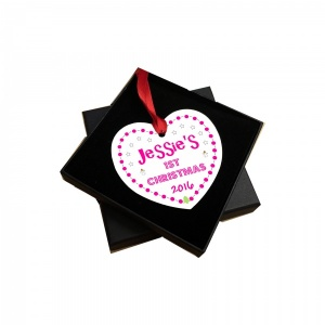 Personalised Baby's 1st Christmas Tree Decoration - Pink