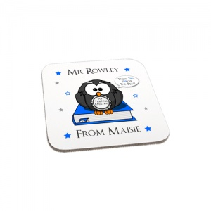 Personalised Blue Owl Thank You Teaching Assistant Gift Wooden Coaster