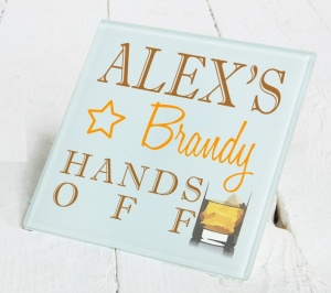Personalised Brandy Glass Gift Drinks Coaster