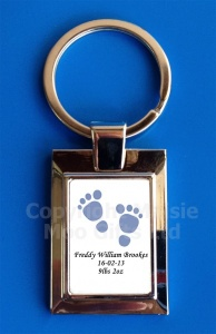 Personalised New Baby Boy Keyring