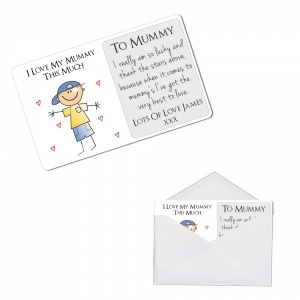 Personalised I Love My Mummy This Much Metal Wallet / Purse Sentimental Card