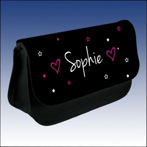 Personalised Name Stars & Hearts Makeup Case