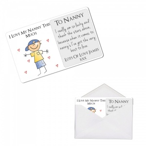Personalised I Love My Nanny This Much Metal Wallet / Purse Sentimental Card