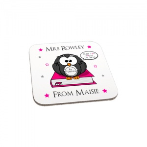 Personalised Pink Owl Thank You Teacher Gift Wooden Coaster