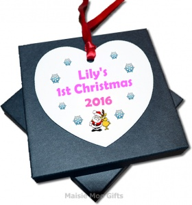 Personalised Christmas Tree Heart Santa & Reindeer Baby's 1st Christmas Decoration