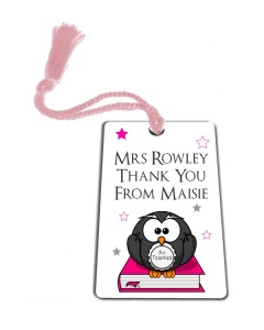 Personalised Pink Owl Thank You Teacher Gift Metal Bookmark
