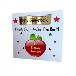 Personalised teacher card personalised teacher thank you card personalised apple thank you teaching assistant greeting card m4hsunfo