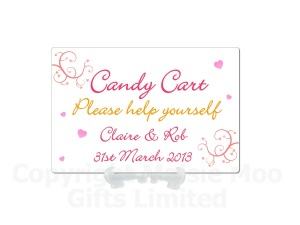 Personalised Candy Bar Love Hearts Swirly Metal Sign