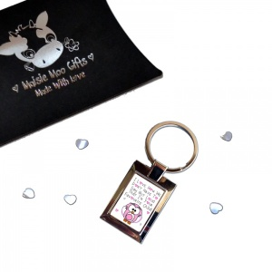 I Love How We Don't Need To Say Out Loud ...  Pink Owl Metal Keyring In Gift Box