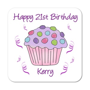Cupcake (Purple) Personalised Birthday Coaster