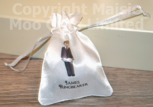 Personalised Ringbearer Satin Wedding Pouch