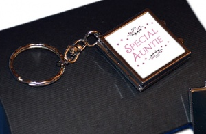 Special Auntie Compact Mirror Photo Locket Keychain