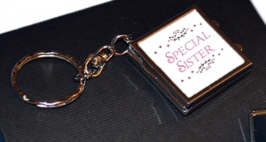 Special Sister Compact Mirror Photo Locket Keychain