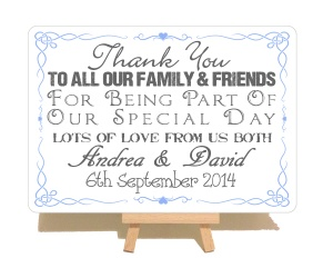 Personalised Thank You Wedding Swirly Style Metal Sign