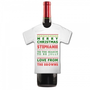 Personalised MERRY CHRISTMAS Tis The Season To Be Jolly  Bottle  Mini T Shirt