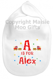 Personalised Alphabet Name Train Bib