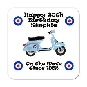 Vespa Style On The Move Since... Personalised Birthday Coaster