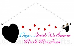 Personalised Countdown Wedding Plaque