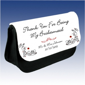 Personalised Bridesmaid Rhinestone Make Up Bag
