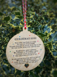 Christmas 2020 Lockdown Wooden Bauble Decoration Ornament Tree Sign