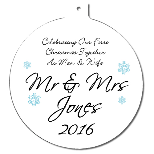 Personalised Mr & Mrs 1st Christmas Tree Ornament