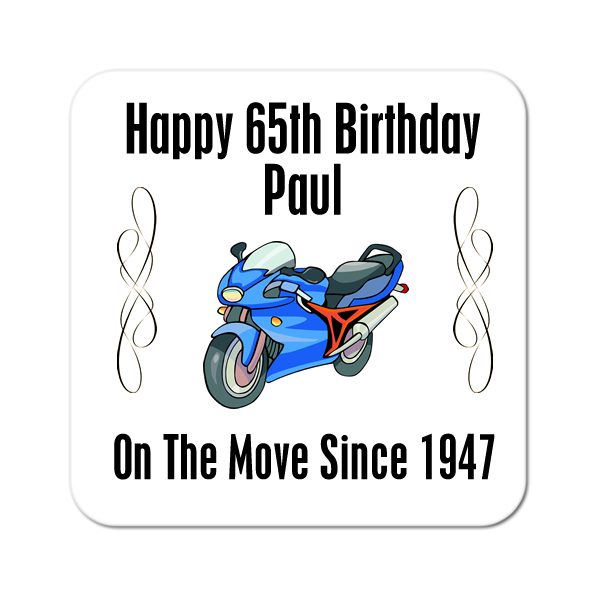 Motorbike On The Move Since.. Personalised Birthday Coaster