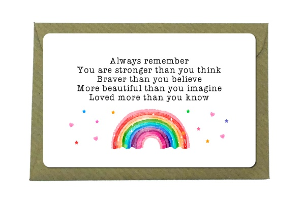 Always Remember You Are Stronger Than You Think Rainbow Metal Wallet Card