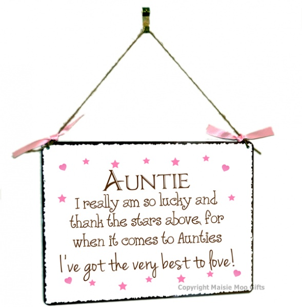 Auntie Hanging Vintage Style Design Plaque