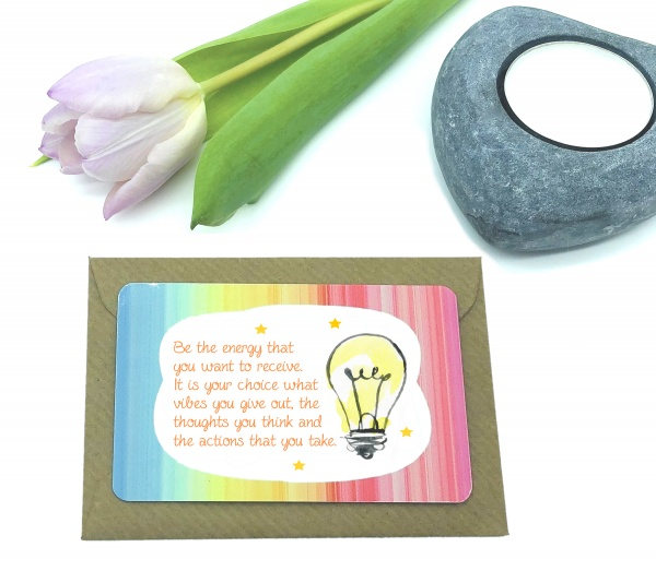 Be The Energy You Want To Receive Positive Mindset Quote Metal Wallet Card Gift
