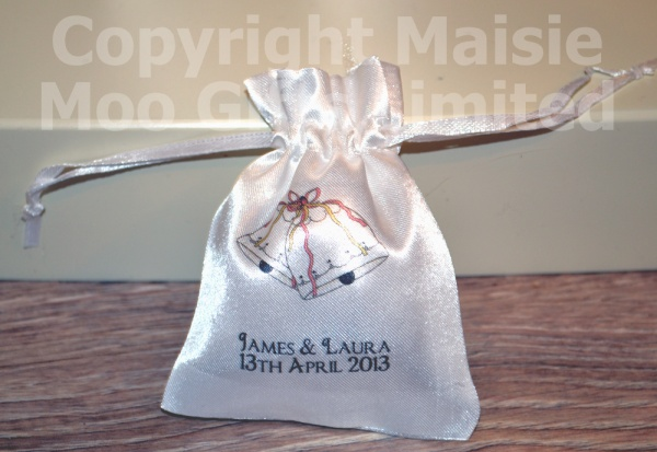 Personalised Wedding Bells Favour Satin Pouches