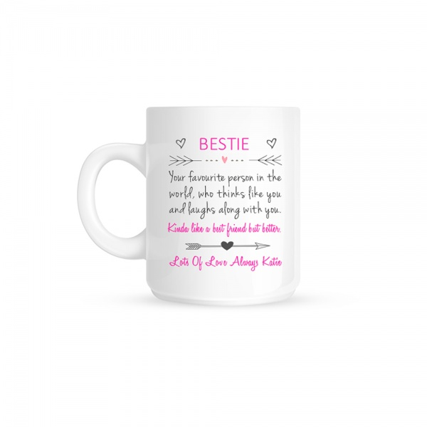 Personalised Bestie ''Definition'' Love Heart Ceramic Gift Mug