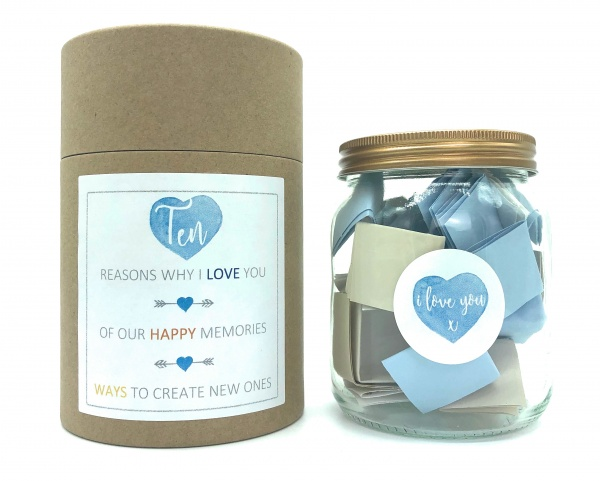 Reasons Why I Love You / Memories / Date Night Ideas Notes DIY Glass Jar Kit Gift Boxed - Customise Yourself To Make A Unique Personalised Gift For Your Loved One or Bestie - Blue Theme