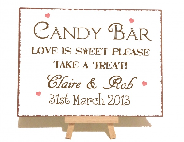 Personalised Candy Bar Vintage Shabby Chic Style Metal Sign