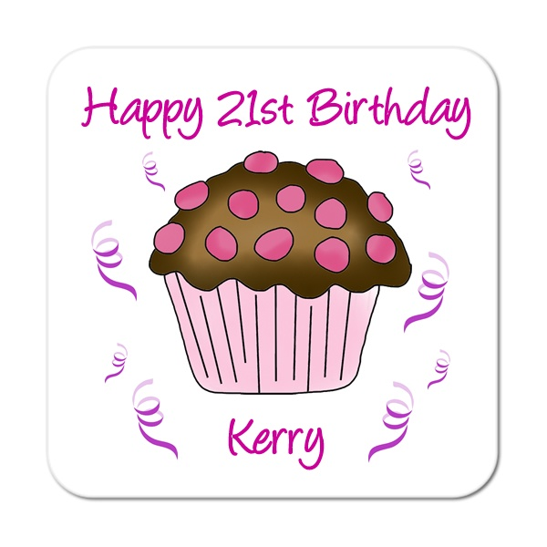 Cupcake (Chocolate & Pink) Personalised Birthday Coaster