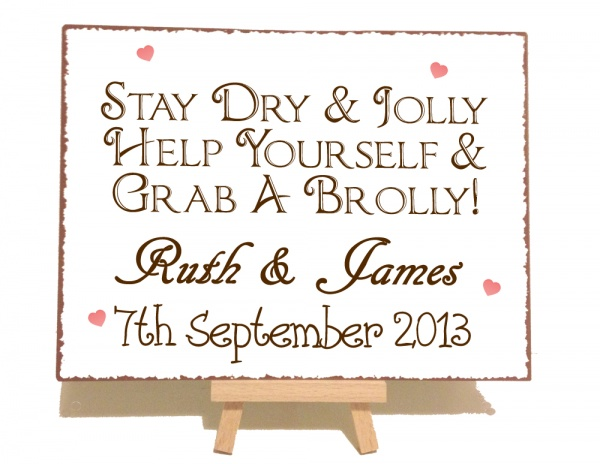 Personalised Grab A Brolly Vintage Shabby Chic Style Metal Sign