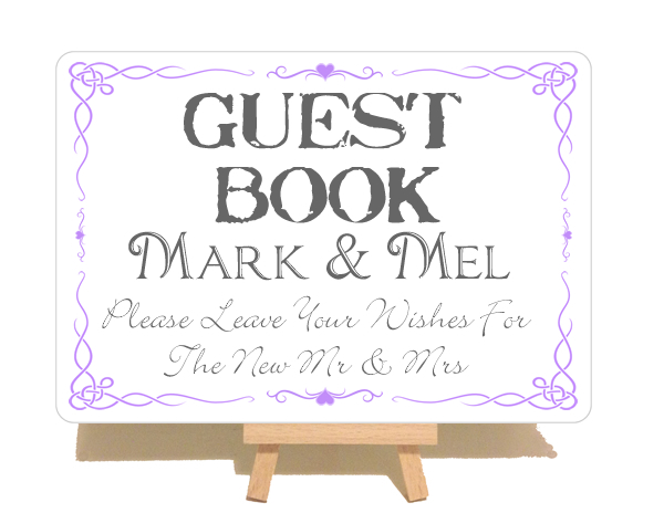 Personalised Swirly Style Guest Book Metal Sign
