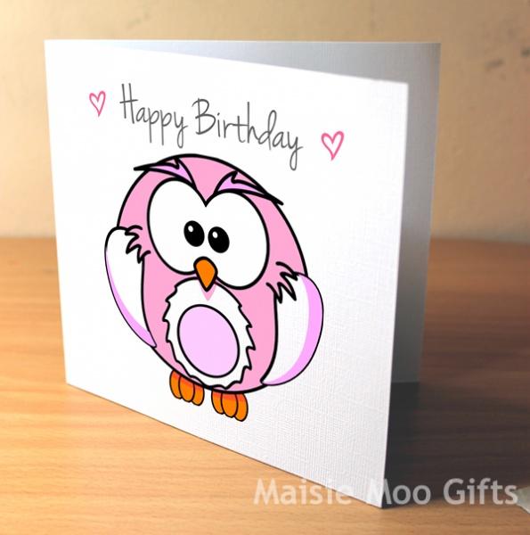 Happy Birthday Pink Owl Scratch Off Greeting Card Happy Birthday