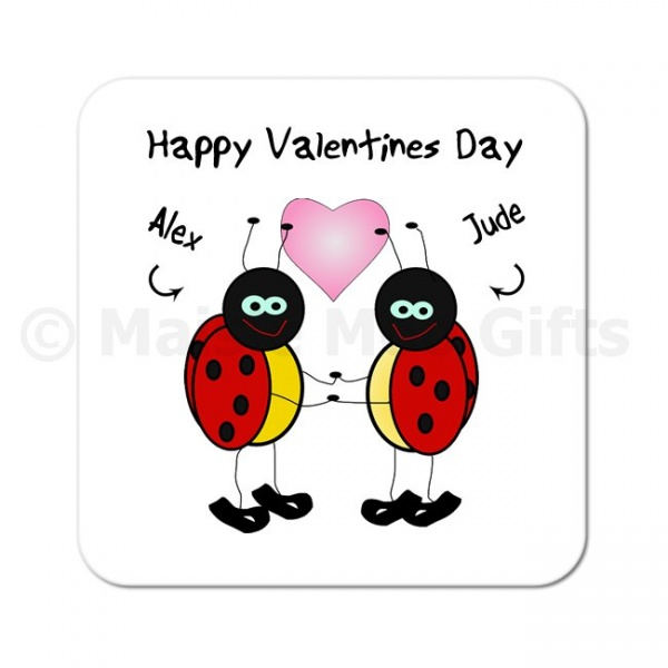 Personalised Happy Valentines Day Ladybird Coaster