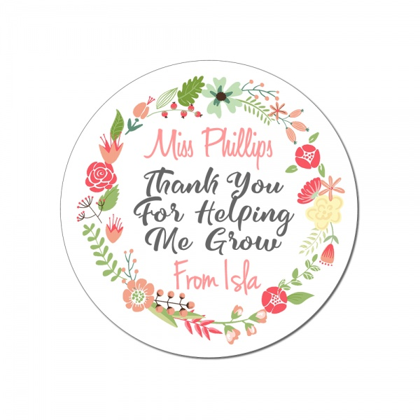 Personalised Teacher Thank You For Helping Me Grow Round Wooden Coaster