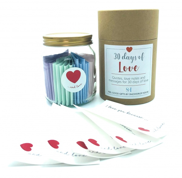 Love Gift Jar - 30 Days of Quotes Date Night Ideas - Reasons I Love You - Love Notes - Special Someone - For Him Her Anniversary Valentines