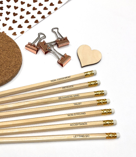 Seven Attitudes Of Mindfulness Natural Wood Pencil Set