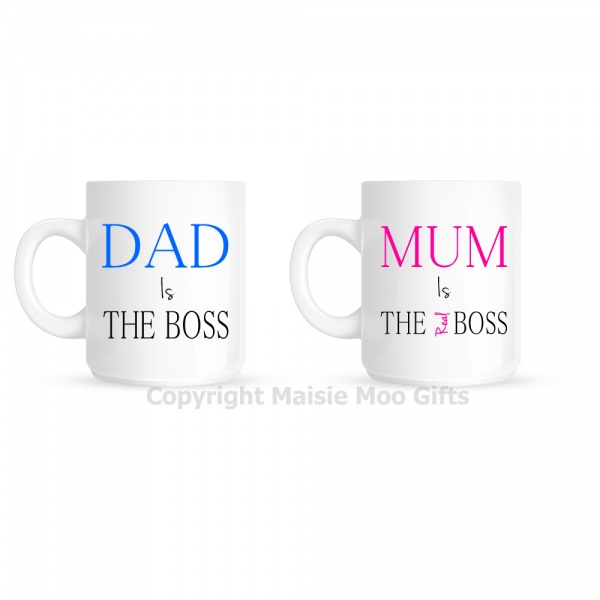Dad Is The Boss - Mum Is The Real Boss Mug Gift Set