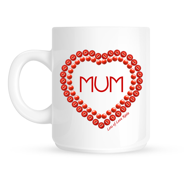 Personalised Mum Heart Mug