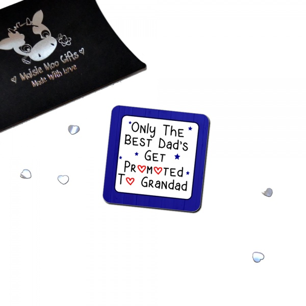 Only The Best Dads Get Promoted To Grandad Metal Fridge Magnet