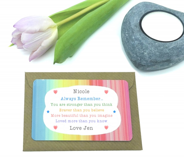 Personalised Always Remember You Are Stronger Than You Believe Metal Wallet Card