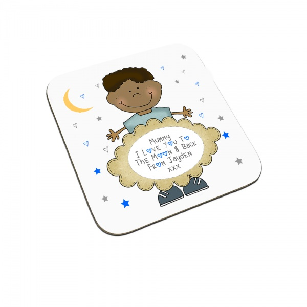 Personalised I Love You To The Moon & Back Child Coaster (Black Haired Boy)